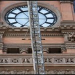 exterior terra cotta restoration of milwaukee's city hall building ongoing