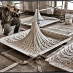 "newly created chicago athletic association building ""drooping tip"" cast plaster ceiling panels ready for installation"
