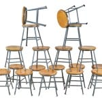"large quantity of matching vintage industrial ""angled steel"" shop stools now available"