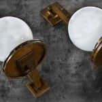 matching set of early 20th century darwin d. martin sconces recently added to bldg. 51 museum