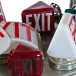 several newly acquired depression era ruby red, emerald green and white opalescent exit lights now available