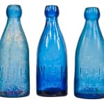 several richly colored rare mid-19th century soda bottles acquired over the past month