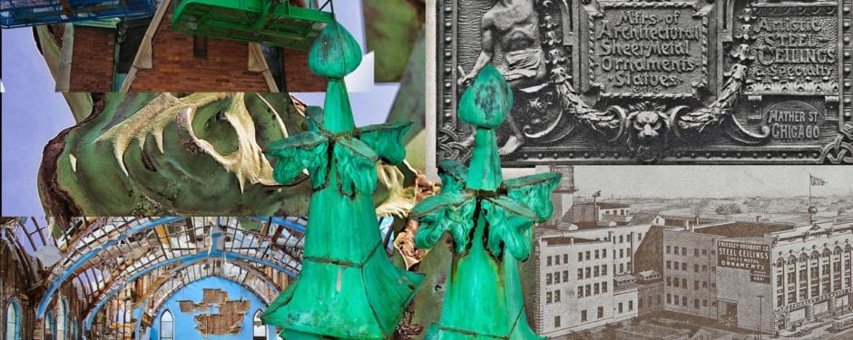 early 20th century gothic style copper ornament salvaged from st. john's church was executed by friedley-voshart company
