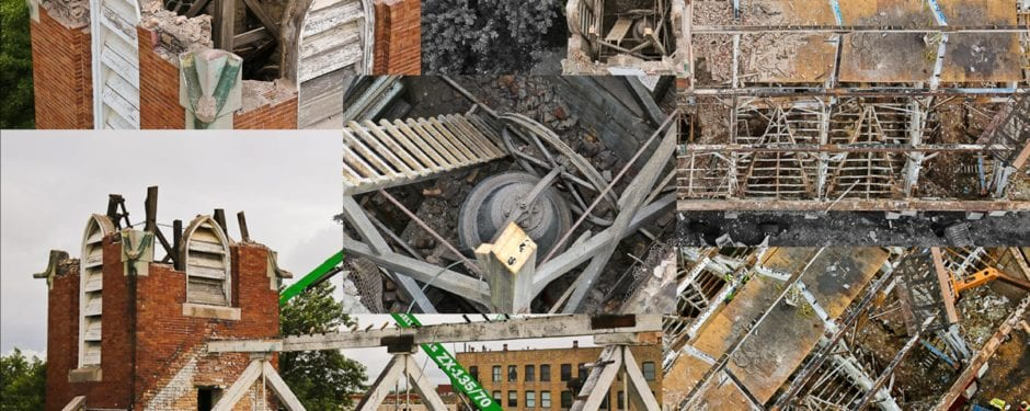 photodocumenting st. john's church deconstruction from high above