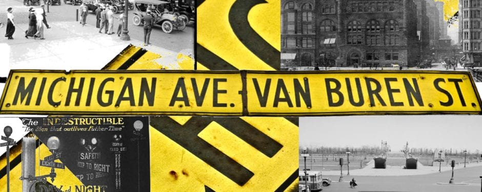 old downtown chicago street sign sheds light on the corner of michigan ave and van buren street during the early 20th century