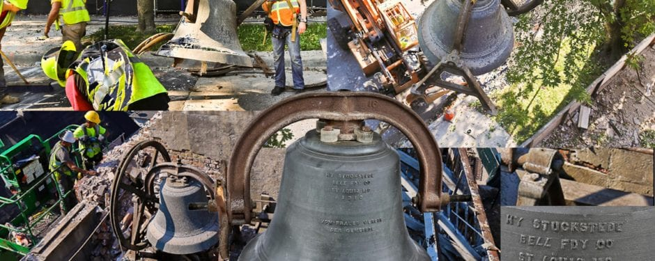 st. john's 1910 bronze bell is removed from steeple as church undergoes its continued deconstruction