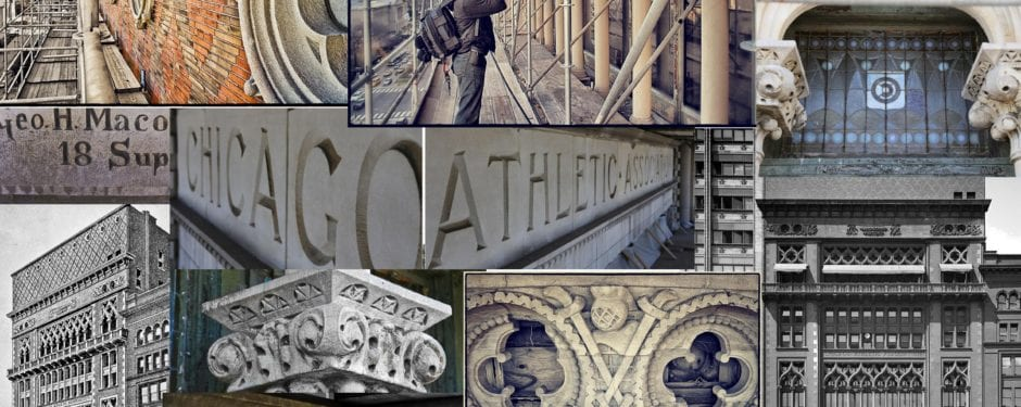 photographing the facade of h.i. cobb's chicago athletic association building (1893)