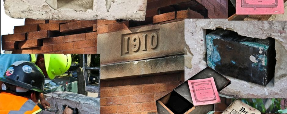 dated cornerstone time capsule with contents successfully extracted shortly before st. john's church razed
