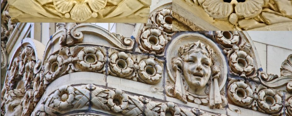 """a closer look at the """"old ivory"""" glazed terra cotta reproduced for the iconic chicago theater"""
