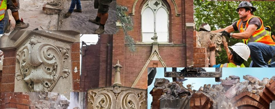 the facade of st. john's church (1910) obliterated in a matter of hours