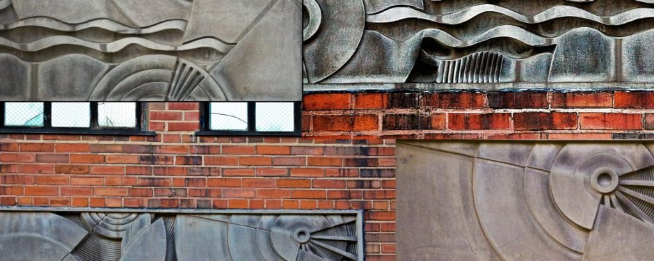 """a detailed look at cast aluminum machine age """"transmission of sound"""" building facade panels"""