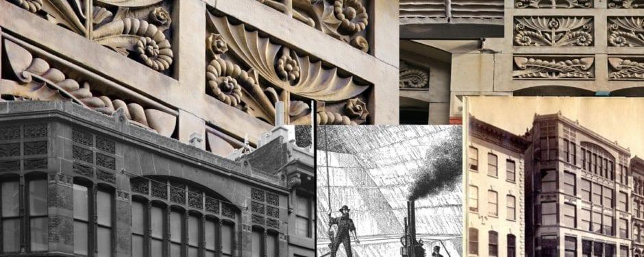 louis h. sullivan's s.a. maxwell commercial loft building sandstone frize panels