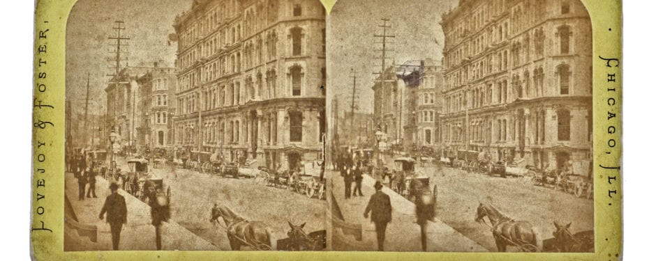 "a street scene from chicago's ""burnt district"" photographed two years after the great fire of 1871"
