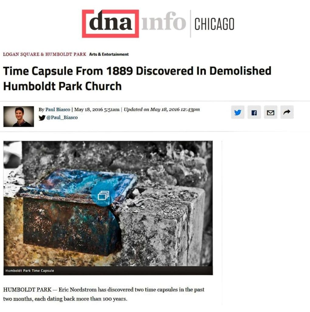 humboldt park church time capsule discovery covered by dna writer, paul biasco