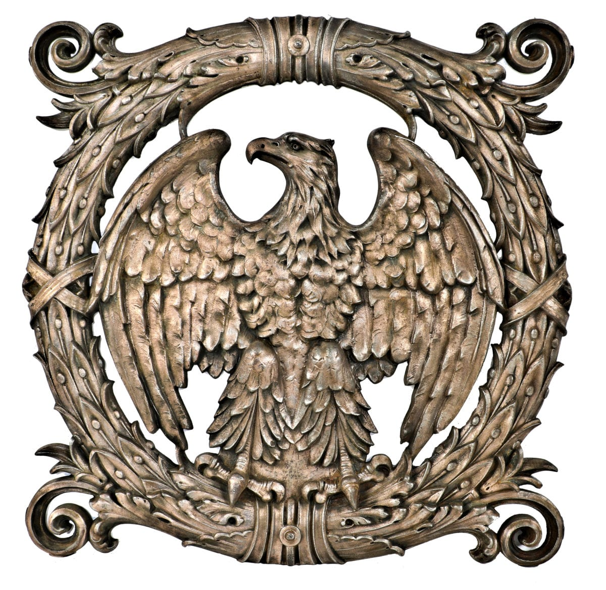 Eagle themed cast iron federal building elevator panel added to 51 museum recently acquired an exceptional copper plated ornamental figural cast iron elevator panel and full bodied eagle the latter is an attribution buycottarizona Gallery
