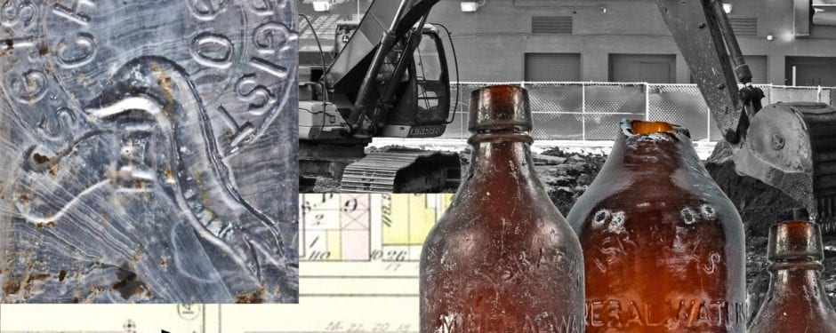 early 1870's remnants unearthed from former site of stephen israel's post-fire chicago pharmacy