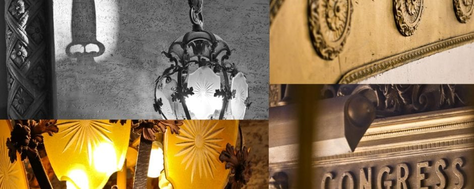 """photographing congress theater's vestibule and lobby fixtures during the """"golden hour"""""""