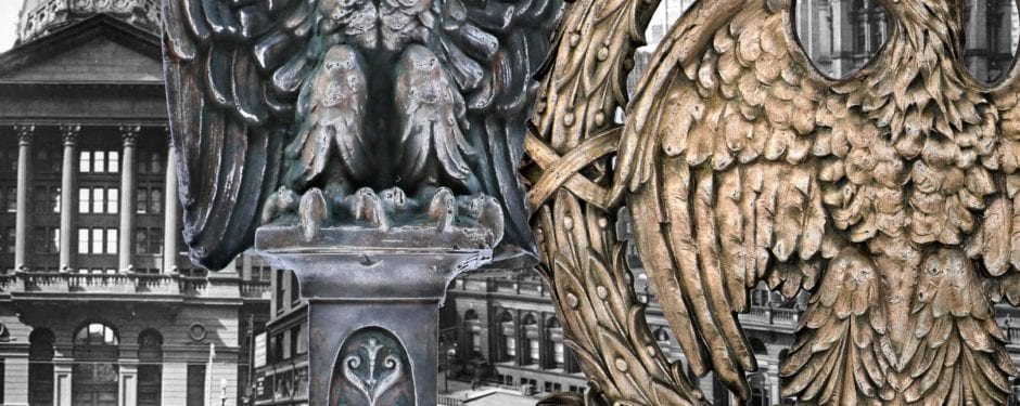 eagle-themed cast iron federal building elevator panel and finial added to bldg. 51 museum