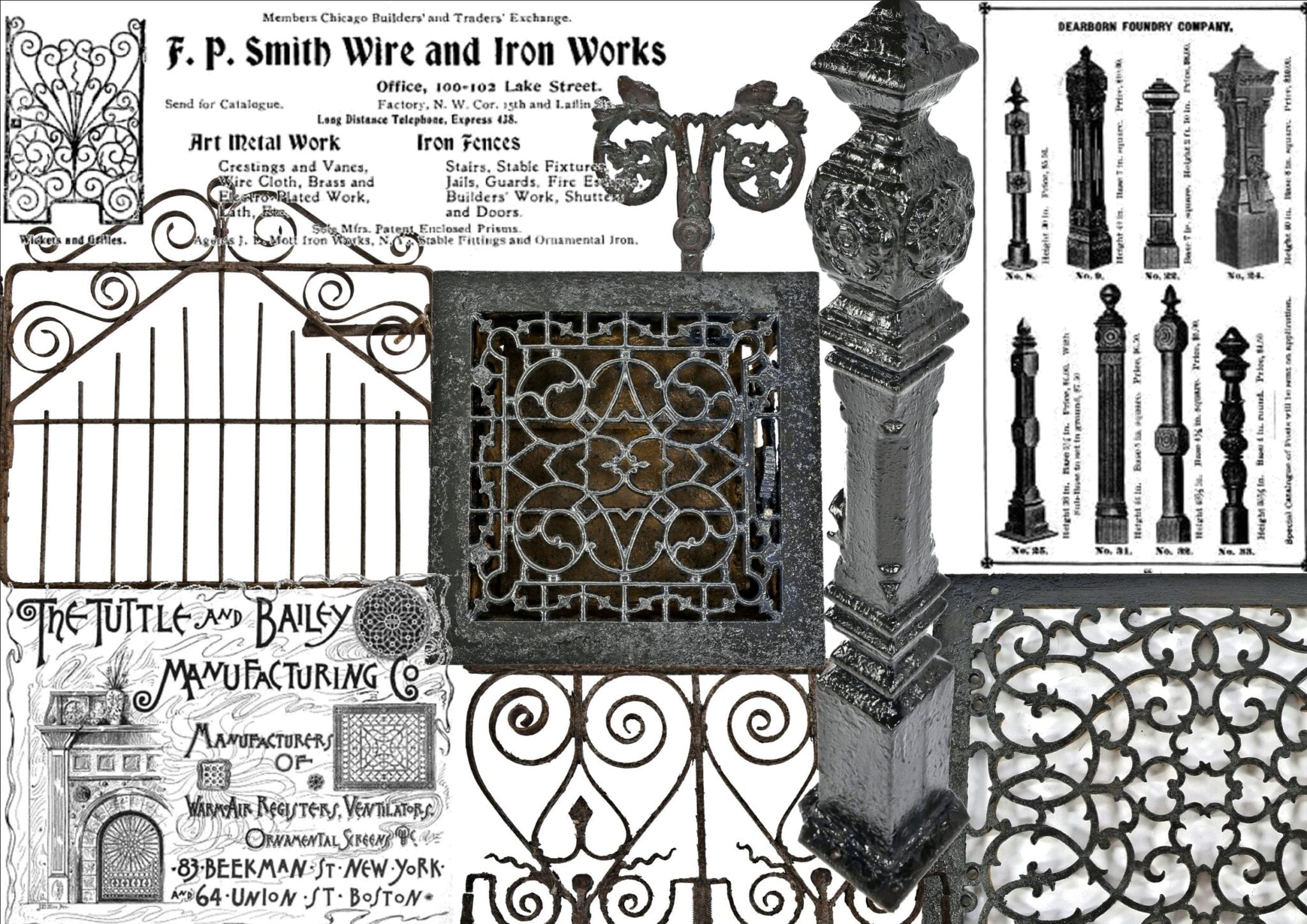 Beautiful A Vast Collection Of 19th Century Exterior Dearborn Foundry Newel Posts,  Tuttle U0026 Bailey Floor Registers, And Miscellaneous Ornamental Ironwork  Hand Crafted ...