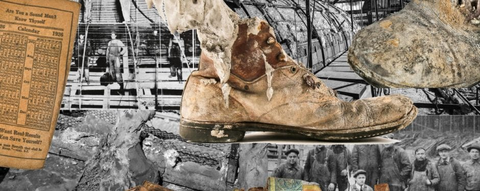 uncovering the 1920's boot of a theater tradesman in the congress theater attic
