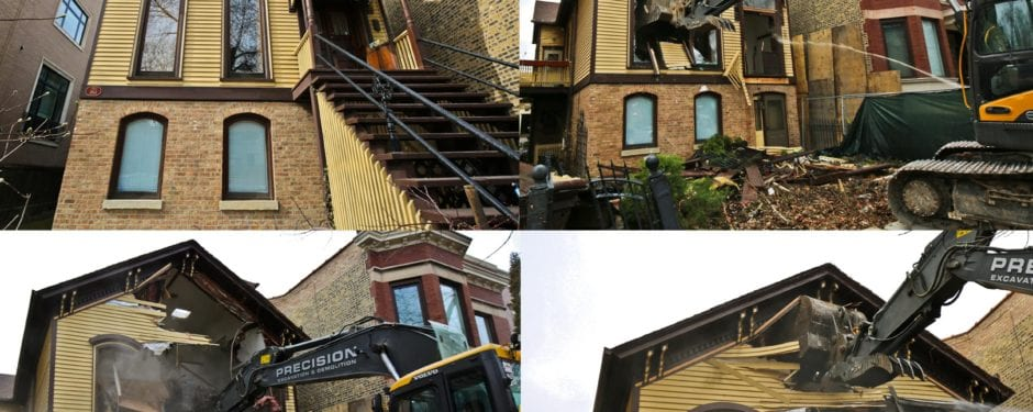 largely intact post-fire chicago wood-framed workers cottage ripped apart in a matter of hours