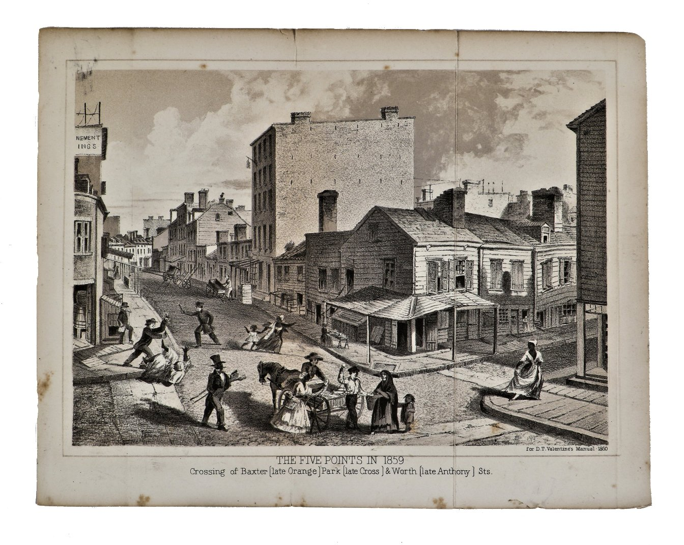 Hard To Find Antique Original Mid Nineteenth Century Black And White Lithograph Fold Out Print Illustrating A Street Level View Of New York City S Five Points For Cartographer D T Valentine S Annual Publication On