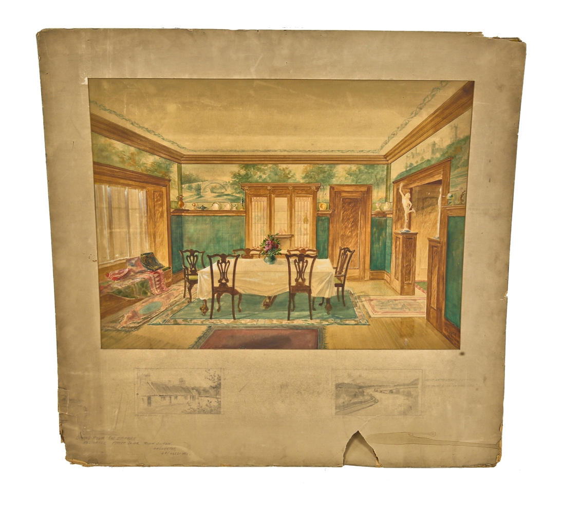 20 Glorious Old Mansion Bedrooms: Early 20th American Polychromatic Watercolor Rendering