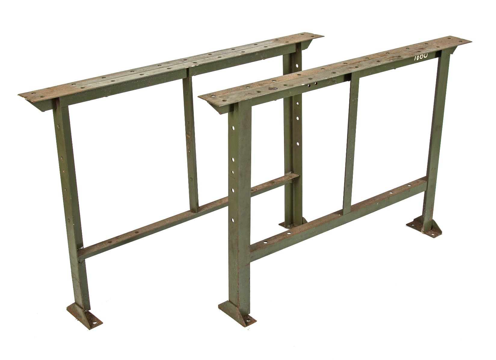 Original C 1940 S Salvaged Chicago Antique American Army Green Pollard Brothers Angled Iron Workbench Table Bases Or Legs