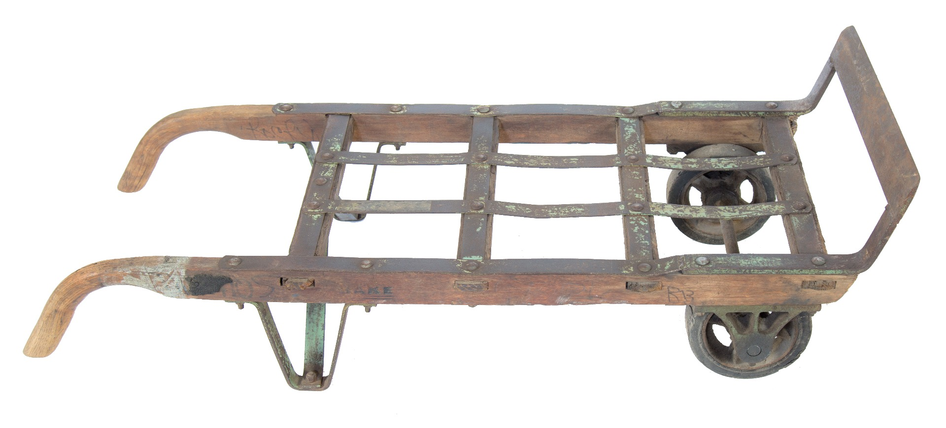 Heavily Reinforced Antique American Industrial Hardwood Factory Machine Shop Furniture Dolly With Casters