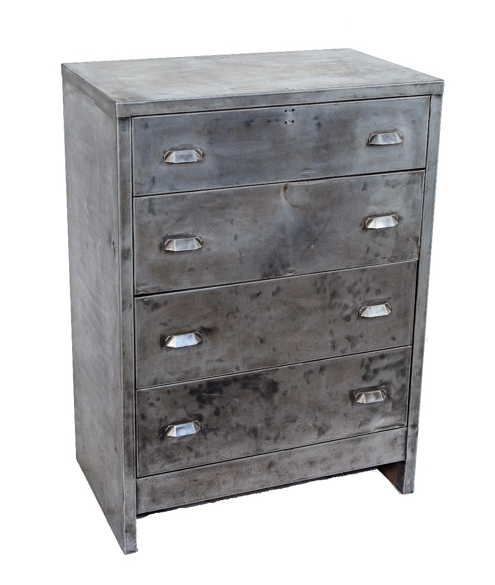 Refinished Antique American Cold Rolled Steel Art Metal Furniture Dresser With Unusual Drawer Pulls