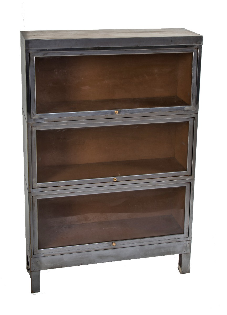 Refinished C 1930 S American Depression Era Antique American Industrial Salvaged Chicago Metal Barrister Bookcase