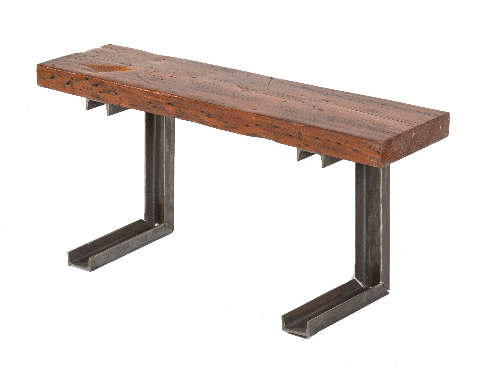 Picture of: Repurposed Vintage American Industrial Channeled Steel Stationary Sitting Bench With Old Growth Pine Wood Seat