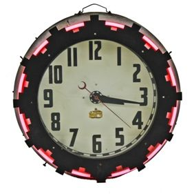 Remarkable C 1930 S American Art Deco Style Aztec Neon Electric Wall Clock