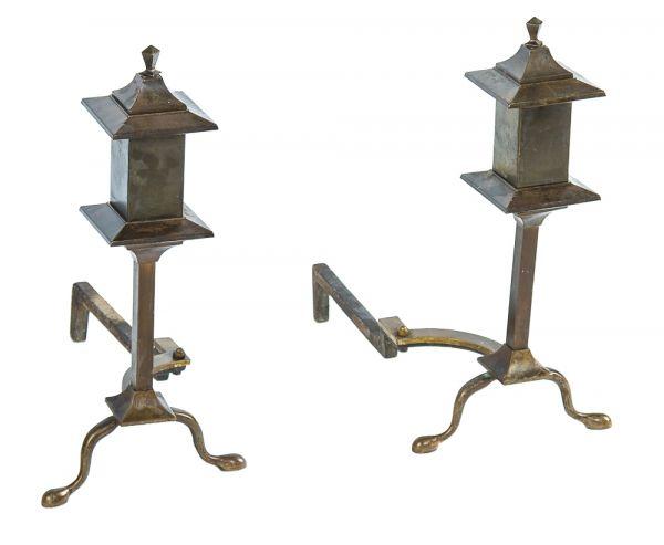Antique Craftsman Fireplace Andirons