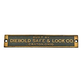 c  1920's original diminutive single-sided cast bronze salvaged chicago  bank building diebold safe or vault door manufacturer's plaque with intact
