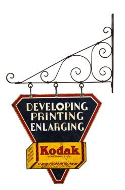 rare c  1930's double-sided die cut steel kodak film exterior advertising  trade sign