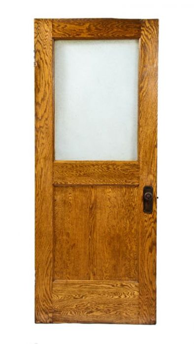 Original Early 20th Century Interior Office Varnished White Oak Wood Door With Intact Glue Chip Glass Pane