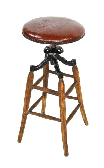Peachy Late 19Th Century Vintage Industrial Adjustable Height Oak Wood Four Legged Stationary Drafting Stool With Upholstered Seat Caraccident5 Cool Chair Designs And Ideas Caraccident5Info
