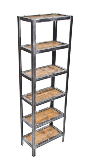 the latest d2788 4e99c well-built repurposed american vintage industrial freestanding shelving  unit or rack complete with recycled barn wood shelves and brushed metal  angled ...
