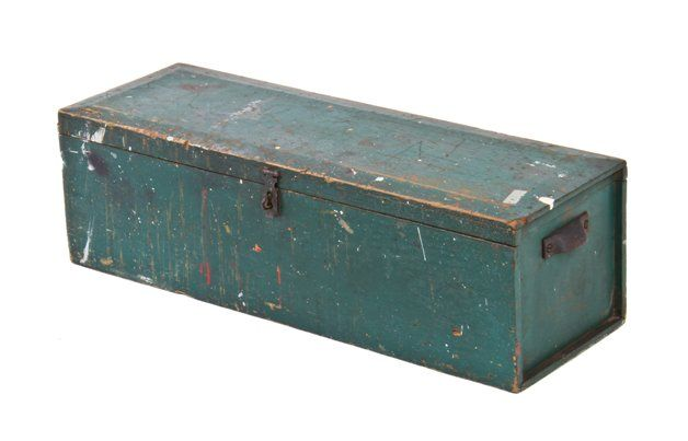 Oversized Early 20th Century Vintage Industrial Railroad Locomotive Mechanic Wood Tool Box With Old Green Paint Finish