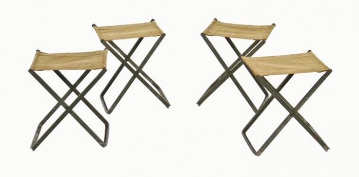 Groovy Set Of Four Matching Vintage World War Ii American Army Portable Field Chairs With Original Stitched Canvas Seats Gmtry Best Dining Table And Chair Ideas Images Gmtryco