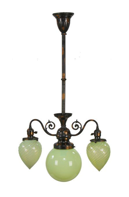 Early 20th Century American Victorian Era Oxidized Copper Residential Ceiling Light Fixture With Vaseline Phoenix Gl Shades