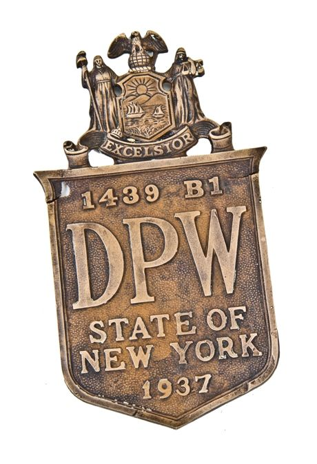 rare c  1930's american depression era ornamental cast bronze single-sided  exterior new york state department of public works bridge plaque