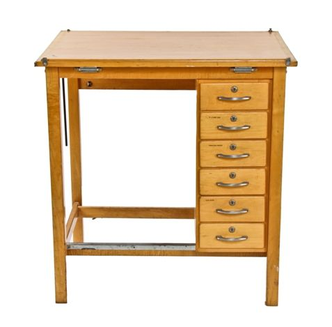 Original C 1950 S Vintage American Varnished Maple Wood Drafting Table With A Mulude Of Drawers