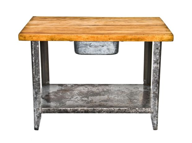 Strange Refinished C 1940S Vintage American Industrial Maple Wood Butcher Top Table With Single Pull Out Drawer And Spacious Undershelf Caraccident5 Cool Chair Designs And Ideas Caraccident5Info