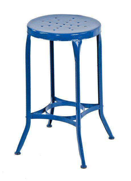 Stupendous Original C 1940S Vintage Industrial Pressed And Folded Blue Enameled Uhl Art Steel Stationary Stool With Pierced Metal Seat Inzonedesignstudio Interior Chair Design Inzonedesignstudiocom