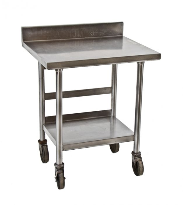 vintage american industrial two tier stainless steel commercial kitchen  prep table with undershelf and backsplash