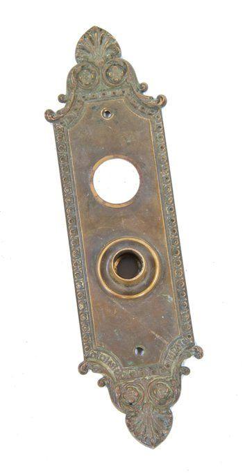 Vintage Large Ornate Brass Front Door Entry Escutcheon Back Plate 11 x 3