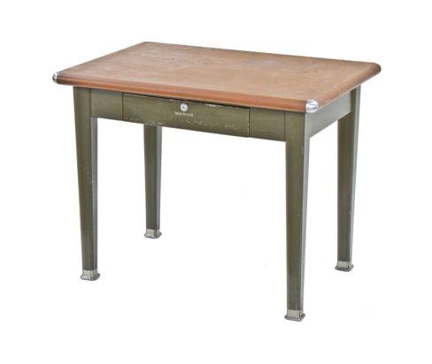 Original C 1930 S Vintage American Industrial Shaw Walker Metal Factory Office Desk With Brown Leatherette Top