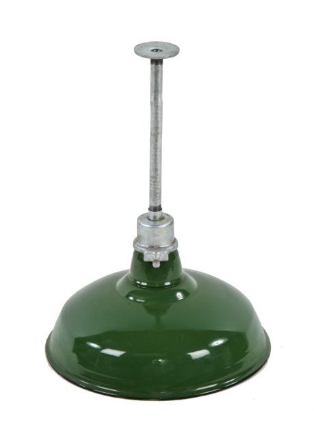 Large Quantity Of Matching C 1940 S Vintage American Industrial Green Porcelain Enameled Cbs Studios Pendant Lights